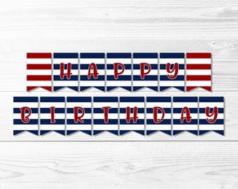 Happy Birthday Banner -- Navy and Red, Red and Blue, Striped, Nautical Birthday, Nautical Banner, Party Decor, Printable, Instant Download