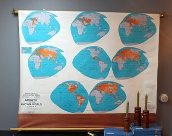 Weber Costello World History map: Growth of the Known World to 1800 AD - school pulldown map