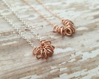 Simple Rose Gold Necklace - Tiny Ovals Necklace - Layering Necklace - Minimalist Necklace - Dainty Rose Gold Necklace -Rose Gold and Silver