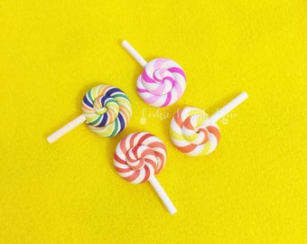 FREE SHIPPING! 4 Clay Polymer lollipops Candy Decoden Kawaii