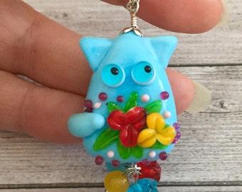 Cat Pendant - Flower jewelry - Kitten - Cat Jewelry - Handmade Lampwork glass - Animal Lover Gift - Pet Jewellery - Cat Lover - Blue  cat