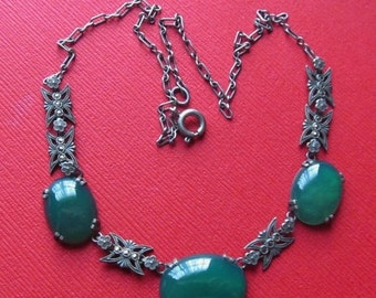 On Sale Art Deco Sterling Silver Chrysoprase Marcasite Necklace Antique Jewelry Circa 1930
