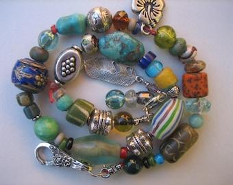 15%off AFRICAN TRADE BEADS bracelet Stunning tribal bracelet Arizona turquoise