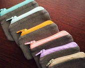 Tiny Grey Canvas Zipper Coin Purse with Colored Zipper