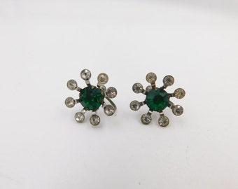 Vintage Green and White Rhinestone Flower Screwback Earrings