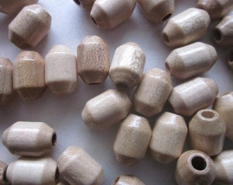 Beige Wood Beads 15x10mm 14 Beads