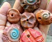 Artisan Ceramic Beads, Textured beads, ocean beads, pottery beads, disc beads, clay beads, organic shape, pottery bead lot,