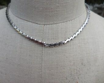 Vintage 1960s Silver Tone Signed Givenchy Chain Small Size Necklace Shiny Narrow Retro
