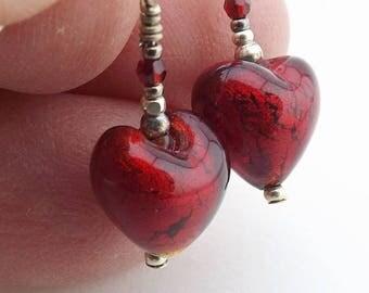 Murano Heart Glass Earrings, 3/4 inch (1.9cm) Drops, Garnet Red Glass Bead Earrings, Italian Silver Foil Bead Drops, Mini Earrings