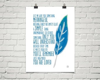 Something Meaningful 18x24 Art Poster Giclee Blue Feather Lisa Weedn