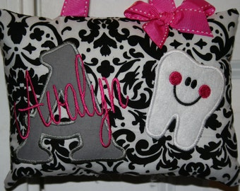 Tooth Fairy Pillow for Girls Personalized Boutique Custom Made Damask