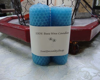 Candles, Beeswax Candle, Hand Rolled, Set of 2-4 inch candles, Beeswax, Small Tapered Candle, Slate Blue