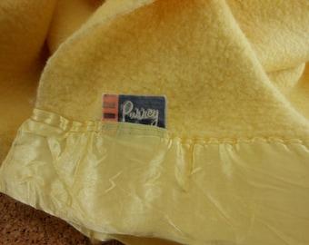Pair PURREY Blankets CHATHAM Mid Century Rayon Wool Sunshine Yellow
