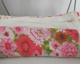 "RESERVED W smithey Flower Cotton Blanket White Lavender Pink Green 78"" X 90"""