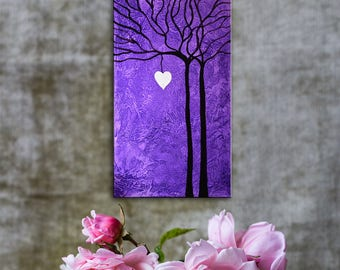 Purple vibrant painting, purple tree painting, heart painting, love marriage gift painting, original gift for marriage, spouse gift