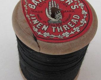 Vintage Wooden Reel of Black Barbour's Linen Button Thread