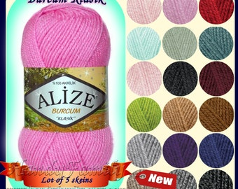 Set of 5 skeins Alize Burcum classic Baby yarn. Hypoallergenic, soft, Aran weight Wholesale DSH