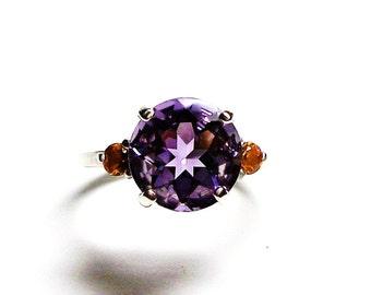 "AAA amethyst, amethyst 3 stone ring, anniversary ring, amethyst jewelry, amethyst ring, purple orange,  s 6 1/2  ""Purple Mountains Majesty"""