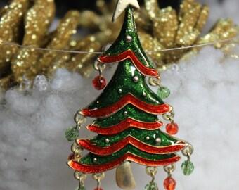 Vintage Christmas Tree with Glass Dangles
