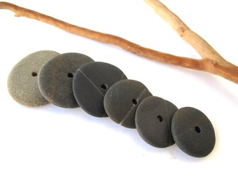 Rock Donut Beads Center Drilled Mediterranean Beach Stone Pebble Jewelry Making DIY River Stone Rock Stack Stone Cairn DARK WHEELS 18-28 mm