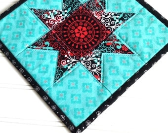 Quilted Star Candle Mat, Mug Rug, Snack Mat, Black Aqua Red White, Medallions