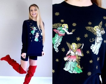 60% Off vtg 80s black FLYING ANGELS ugly Christmas sweater SWEATSHIRT os metallic jumper snowflakes kitschy novelty print oversized top gold