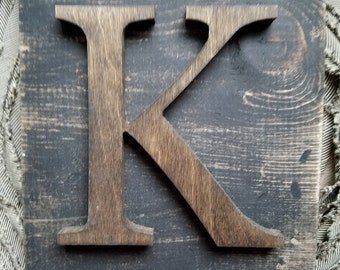 Black Hanging Rustic letter K sign- Wall hanging letter READY TO SHIP K Wedding gift teacher gift