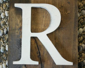 Wood Farmhouse letter R sign- Wall hanging letter READY TO SHIP R Wedding gift teacher gift
