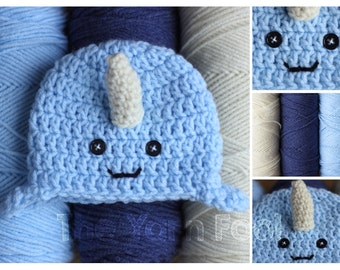 Baby Narwhal Hat -Newborn, Infant, Toddler, Youth, and Adult Sizes