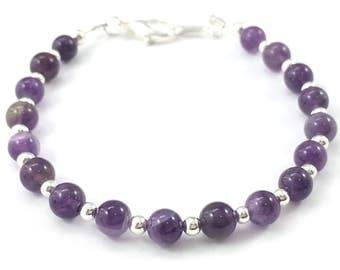 Amethyst and Silver Bracelet, Amethyst Bracelet, Gemstone Bracelet, February Birthstone
