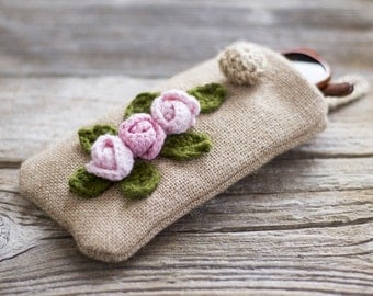Burlap and Roses Sunglasses Case, Rustic Jute Eyeglasses Case, Cottage Chic Eyewear