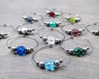 Bulk Wine Charms | Crystal Wine Glass Charm - Gunmetal - 24 Colors - Wine Party Favor - Glass Tag - Glass Marker - Wine Charm Favor | NPC1-1