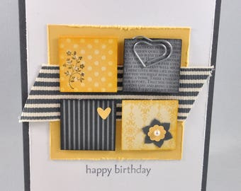 Birthday Greeting Card, Birthday Card, Happy Birthday, Yellow, Grey, Gray, White, Squares, Stripes, Hearts, Flowers, Blank Inside