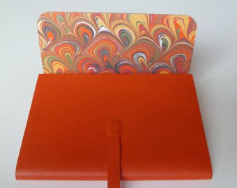 Leather Journal Leather Notebook Travel Journal Leather Book Bright Orange Leather with a Lovely Marbled Paper Lining.