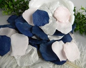 Pink & Navy Wedding Decoration | Light Pink, Silver, Blue Rose Petals | 200 Artificial Petals | Baby Shower Decoration | Tossing Petals