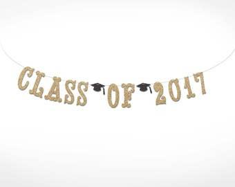 Glitter Class of 2017 Graduation Banner // College Graduation // High School Graduation // Class of 2017