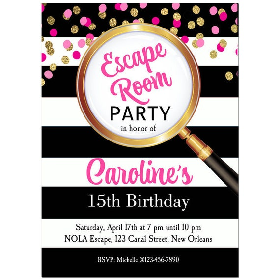 Escape room invitation printable or printed with free for Escape room party