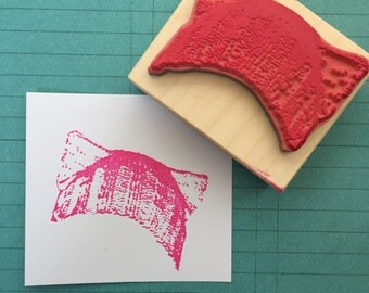 Feminist Knitted Cat Hat Rubber Stamp