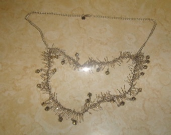 vintage necklace silvertone chain double strand tiny glass beads dangles