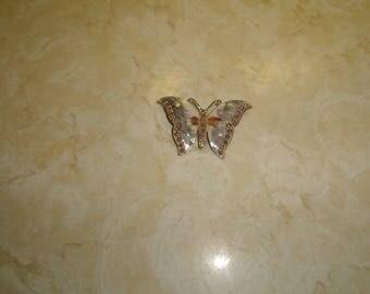 vintage pin brooch goldtone butterfly rhinestones