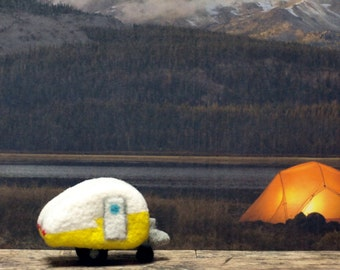 Needle Felted Classic Yellow Teardrop Camper/Trailer