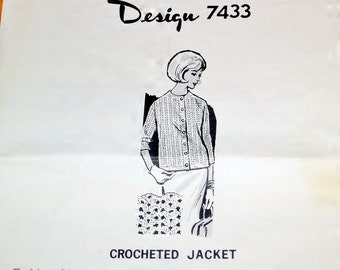 Vintage 1960s Design Mail Order Crochet Pattern 7433 Crocheted Sweater, Womens Misses Size 10 12 14 16 18 20 22 24 Bust 32 34 36 38 40 42 44