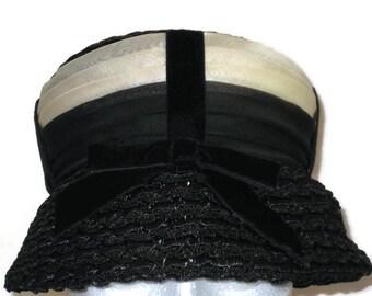 1960s Black Hat Black Lampshade Hat Black Cream Hat Chiffon Ribbon Black Bucket Hat 60s Dress Hat Black Cloche Vintage Hat Vintage 60s Hat