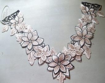 "Tan & Black Lace Applique Collar-17""x10""-1 PIECE"