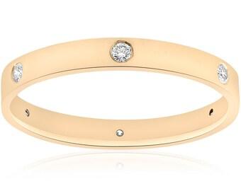14k Yellow Gold Diamond Wedding Band Womens Stackable High Polished Flat Bezel Anniversary Ring