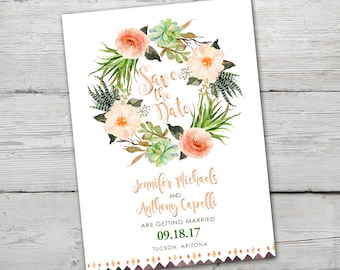 Succulent Save the Date, PRINTABLE Succulent Wedding Announcement, Cactus Save the Date , Watercolor Cactus Save the Date, Succulent Wedding