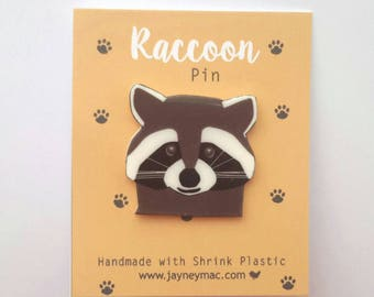 Raccoon Pin, Shrink plastic raccoon pin