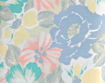 Pastel Floral Denim Fabric, 100 Percent Cotton, Fabric by the Yard