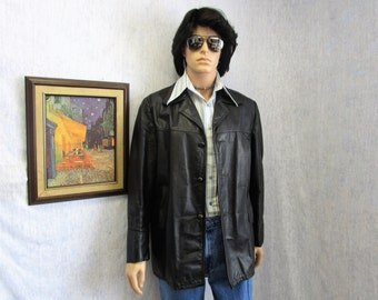 70s 42 Leather Jacket Car Coat Black Sears