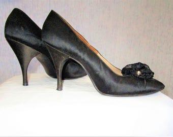 60s 8AA Herbert Levine Satin Stiletto Heels Pumps SHOES Black Rhinestone